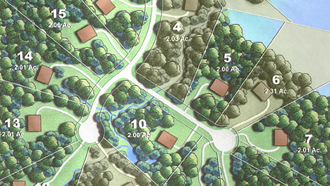 Partial map of Harbor Trail available lots